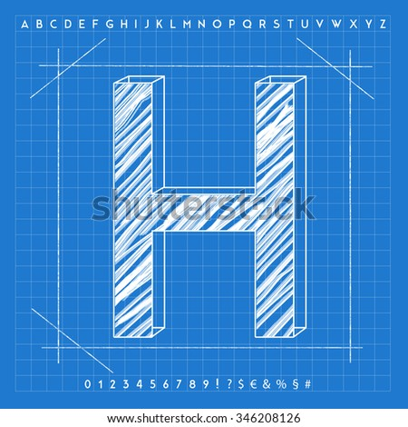 High quality 3d blueprint font number stock illustration 346209392 high quality 3d blueprint font letter h malvernweather Choice Image