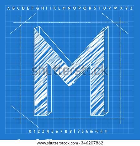 High quality 3d blueprint font letter stock illustration 346207862 high quality 3d blueprint font letter m malvernweather Choice Image