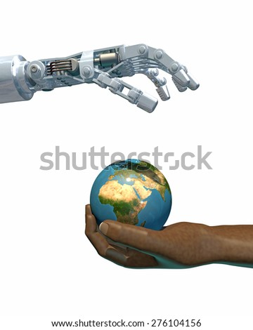 High-quality 3D render of a robot hand giving a globe to a human hand. White background, focused on the Africa and the Middle East.(Earth texture from NASA - earthmap http://visibleearth.nasa.gov)