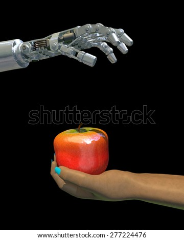 High-quality 3D render of a robot hand giving an apple to a female human hand. Isolated on black background; metaphor for the increasing use of technology in food production worldwide.