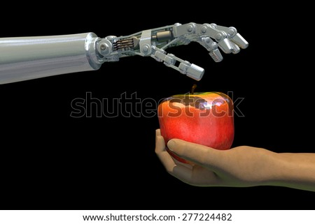 High-quality 3D render of a robot hand giving an apple to a human hand. Isolated on black background; metaphor for the increasing use of technology in food production worldwide.