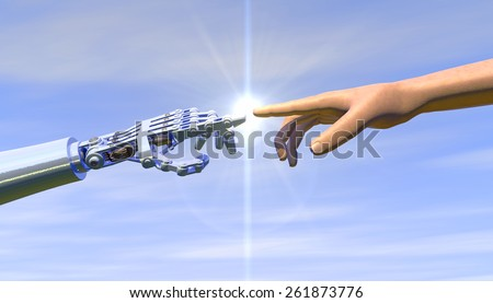 High quality 3D render of a robot hand touching a human hand, representing the relationship between human and artificial intelligence. Bright blue overcast sky, lens flare for dramatic effect.  - stock photo