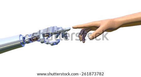 High quality 3D render of a robot hand touching a human hand, representing the relationship between human and artificial intelligence. Cool blue reflections on robot hand, isolated on white. - stock photo