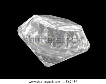 High quality 3D render of a simple solitaire cut diamond on black background. Clearly shows facets and girdle.