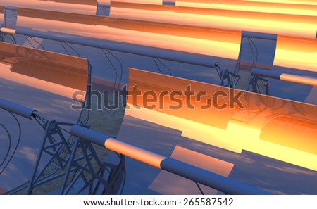 High Quality 3D render of concentrated solar power (CSP) panels tracking the sun in the desert. Bright red-orange sky at dusk with the sun about to disappear on the reflected horizon. - stock photo