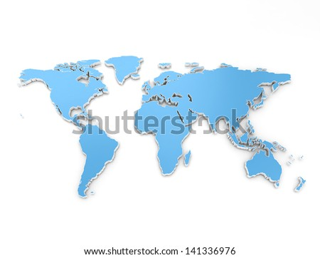 High quality 3d render of the world - stock photo