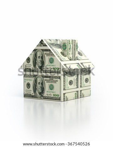 High quality digitally generated hundred us dollar bills create house shape with clipping path. - stock photo