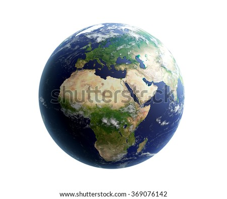 High quality ender of Earth. Europe and Africa is in focus. Transparent water, shaded relief, natural colors, clouds coverage. Isolated on white. Clipping map included. World map courtesy of NASA. - stock photo