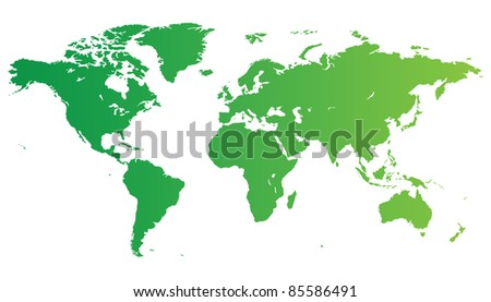 High quality green map of the World.