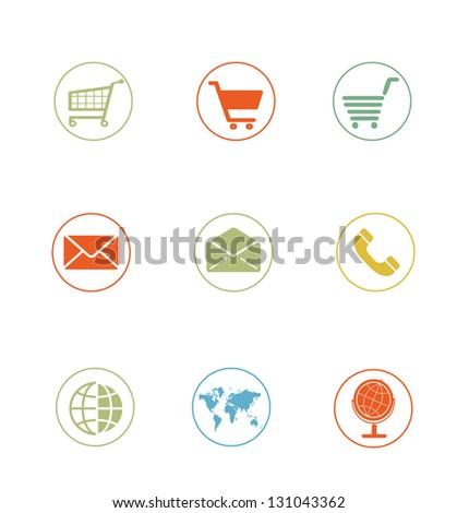 High Quality Icon Sets - ecommerce shopping cart - stock photo