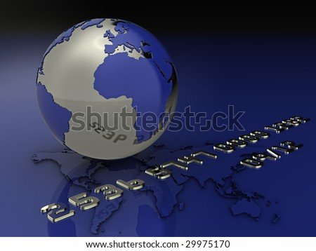 High quality illustration of a globe and credit card style text (fictional details) - stock photo