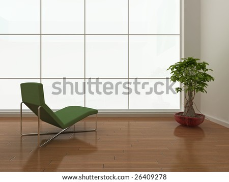 High quality illustration of a minimal interior with large blank window. - stock photo