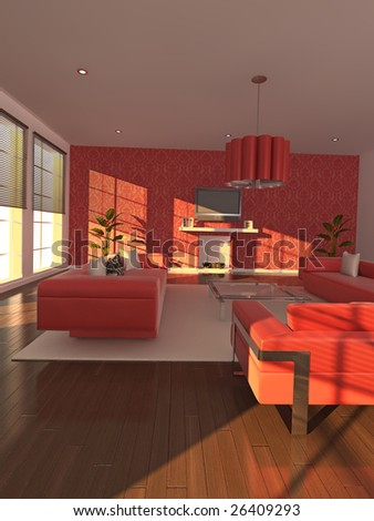 High quality illustration of a warm, modern living area in the early evening.