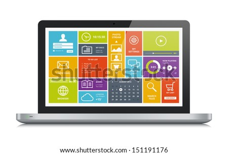 High quality illustration of modern metallic laptop with stylish modern colorful user interface on a screen. Isolated on white background. - stock photo