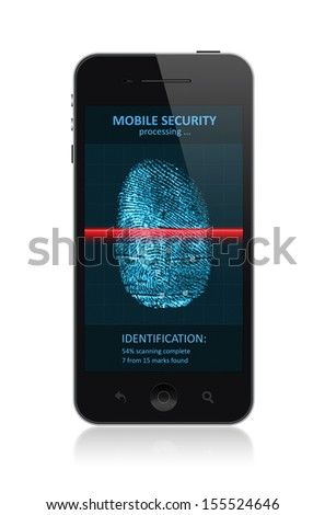 High quality illustration of  modern smartphone with process of scanning fingerprint on a screen. Isolated on white background. - stock photo