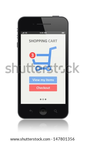 High quality illustration of modern smartphone with shopping cart icon on a screen. Isolated on white background  - stock photo