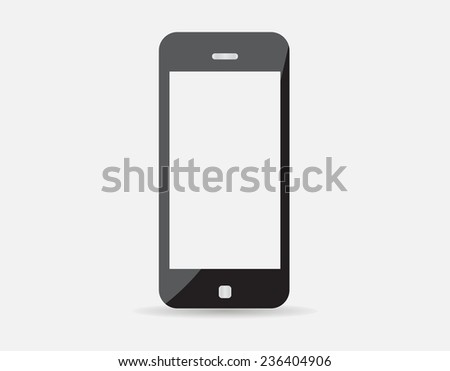 High quality illustration of modern technology device - mobile phone mockup with blank screen. Smart phone isolated on white background.  - stock photo