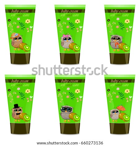 High quality original trendy  kiwi Baby cream tube with kids design and owl on floral background illustration
