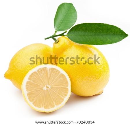 High-quality photo ripe lemons on a white background - stock photo