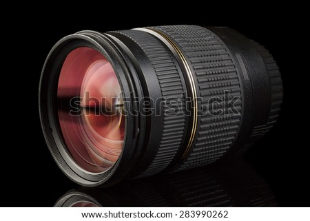 High-quality photographic lens close photographed. - stock photo