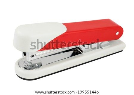 High quality red stapler. Isolated on white background with clipping path. - stock photo