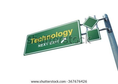 """High quality render of a highway """" Technology """" road sign isolated on white background. Clipping path included to use in designs easily. - stock photo"""