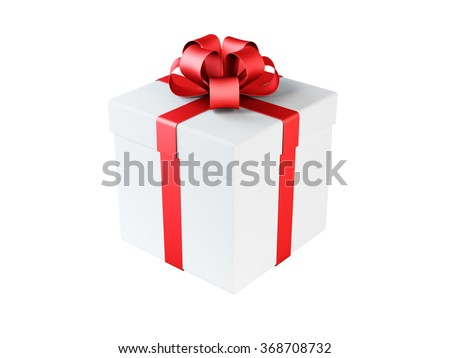 High quality render of a white gift box tied with a red satin ribbon. There is a gold bow tie on it. Isolated on white background. Clipping path is included. - stock photo