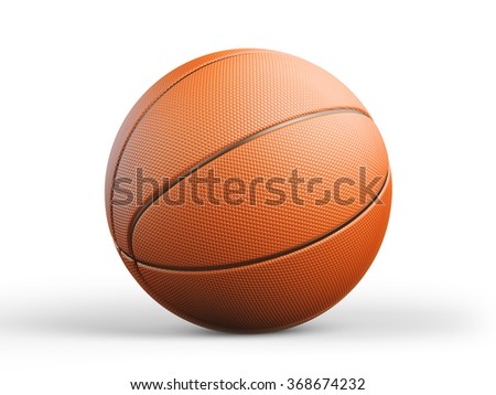 High quality render of 3D basket ball. It is isolated on white background. Clipping path is included. - stock photo