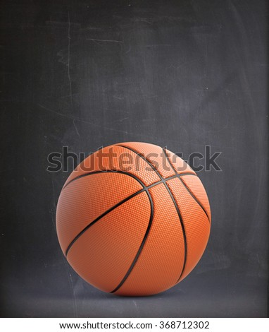 High quality render of 3D basket ball. It stands against a dark grey  background. - stock photo