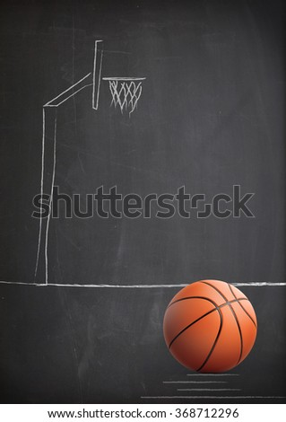 High quality render of 3D basket ball. It stands against a dark grey  background. There is a hoop drawn by chalk  on the background. - stock photo