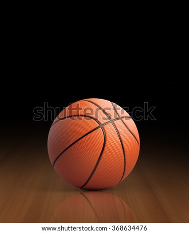 High quality render of 3D basket ball on a reflective court. It is lit by a spot light.  - stock photo