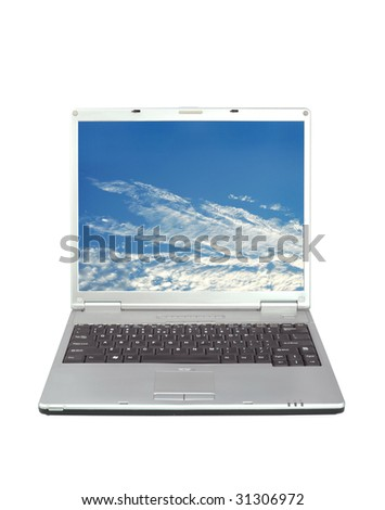 High quality render of gray high-end laptop computer with sky background