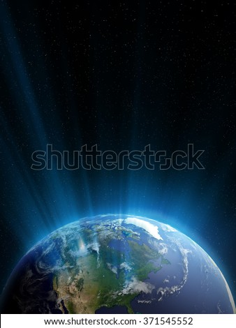 High quality render of Planet Earth with light streaks. The North America is in focus. Transparent water, shaded relief, natural colors, cloud coverage. World map courtesy of NASA. - stock photo