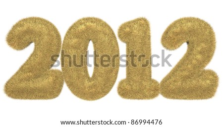 high quality rendering of hairy lettering 2012 in golden brown