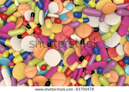 high quality rendering of multicolored drugs and pills
