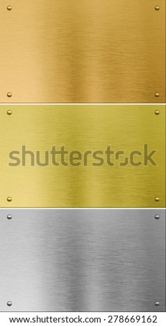 high quality silver, gold and bronze metal textures - stock photo