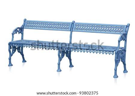 High quality stylish park iron bench isolated over a white background - stock photo