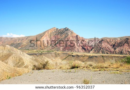 High red minerals mountains in Armenia.