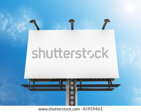 High res. blank big billboard with background-3d rendered - stock photo