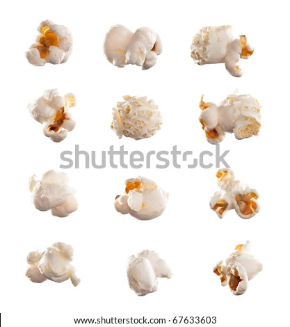High res, clean macro image of a single piece of popcorn isolated on white. *Specificaly lit for easy compositing into a typical movie theatre scene*