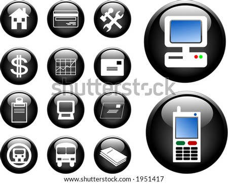 High res 3D buttons of communication, transportation, property and finance. Vector version in my portfolio. - stock photo