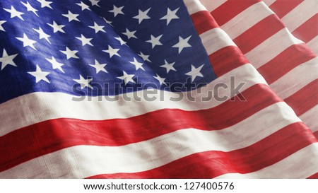 High resolution American Flag flowing with texture fabric detail. - stock photo