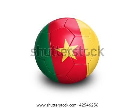 High resolution and highly detailed 3D rendering of a cameroon soccer ball. With clipping path removes the soft shadow. This country qualified for the 2010 soccer world cup in South Africa. - stock photo