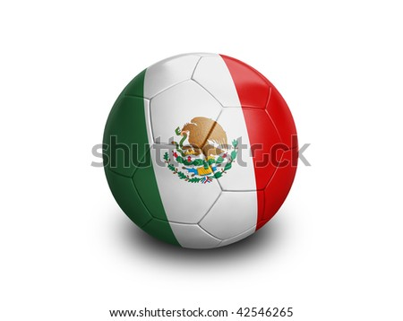 High resolution and highly detailed 3D rendering of a mexican soccer ball. With clipping path removes the soft shadow. This country qualified for the 2010 soccer world cup in South Africa. - stock photo