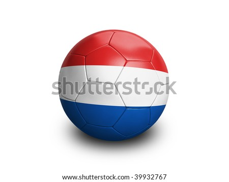 High resolution and highly detailed 3D rendering of a netherlands soccerball. With clipping path removes the soft shadow. This country qualified for the 2010 soccer world cup in South Africa.