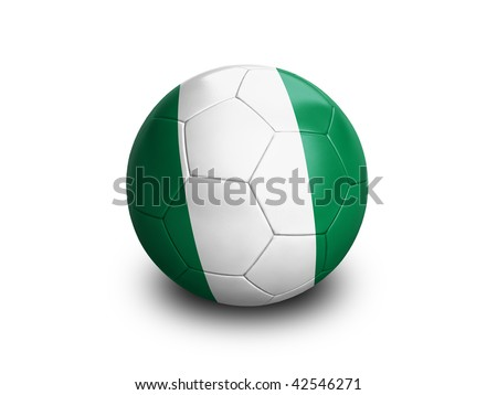 High resolution and highly detailed 3D rendering of a nigerian soccer ball. With clipping path removes the soft shadow. This country qualified for the 2010 soccer world cup in South Africa. - stock photo