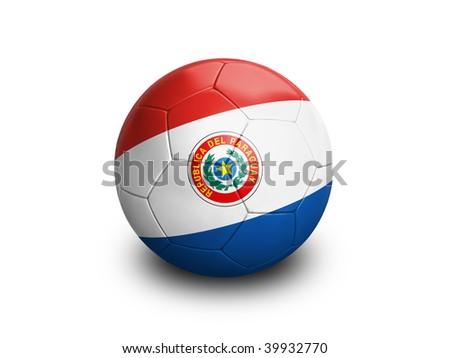 High resolution and highly detailed 3D rendering of a paraguayan soccerball. With clipping path removes the soft shadow. This country qualified for the 2010 soccer world cup in South Africa. - stock photo