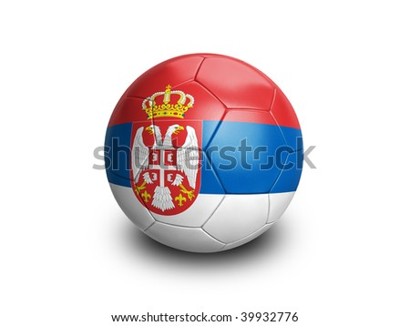 High resolution and highly detailed 3D rendering of a serbian soccerball. With clipping path removes the soft shadow. This country qualified for the 2010 soccer world cup in South Africa. - stock photo