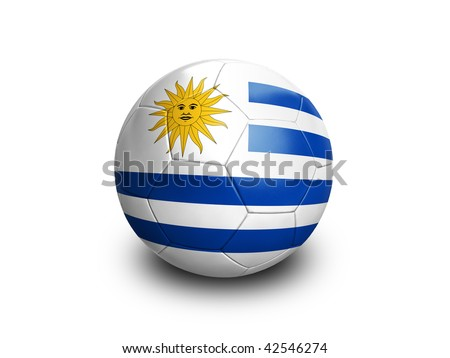 High resolution and highly detailed 3D rendering of a uruguay soccer ball. With clipping path removes the soft shadow. This country qualified for the 2010 soccer world cup in South Africa. - stock photo