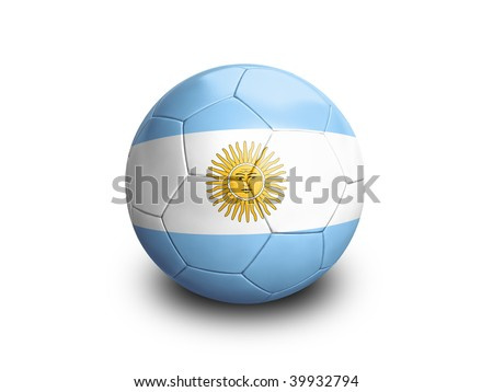 High resolution and highly detailed 3D rendering of an argentinian soccerball. With clipping path removes the soft shadow. This country qualified for the 2010 soccer world cup in South Africa. - stock photo